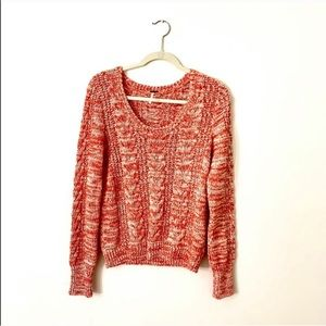 Free People Marled Cable Knit Sweater Red White LG